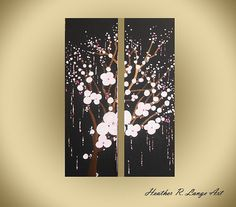 ORIGINAL Cherry Blossoms Art Flowers Falling by HeatherRLange
