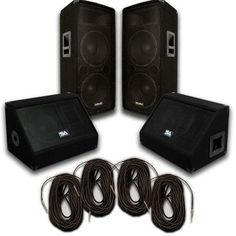 """Pair of Dual 12"""" PA Speakers, 10"""" Floor Monitors, and 4 50' Cables"""