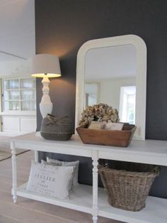 Side table,mirror and grey colour on the wall