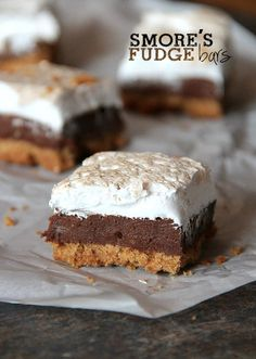 Indulge in these amazing Smore's Fudge Bars! The recipes has homemade Marshmallow Fluff!!!