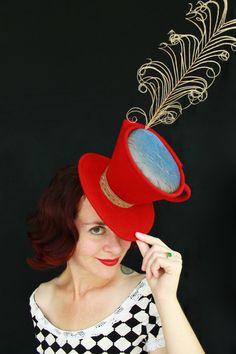 Custom Order Mad Hatter Tea Cup Red Felt Tilt by JillianOriginals, $250.00