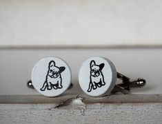 French Bulldog Cufflinks or Tie Tack Wood Dog by BijottiCiciotti