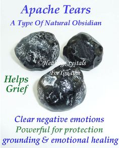 Apache Tears are strange out-of-shape Black Obsidian stones Help grief clear negative emotions Powerful for protection spiritual grounding and emotional healing Grounding Crystals, Healing Crystals For You, Meditation Crystals, Crystal Healing Stones, Crystals Minerals, Crystals And Gemstones, Stones And Crystals, Jar Spells, Healing Spells