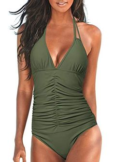 45f0f42904825 Upopby Women's Halter Push up One Piece Swimsuits Backless Monokini Ruched  Tummy Control Bathing Suits Plus