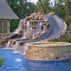 amazing waterfall and water slide for outdoor pool. Wish I could put this in our pool Outdoor Spaces, Outdoor Living, Outdoor Pool, Dream Pools, Pool Houses, Pool Designs, Backyard Designs, Dream Garden, Garden Tub