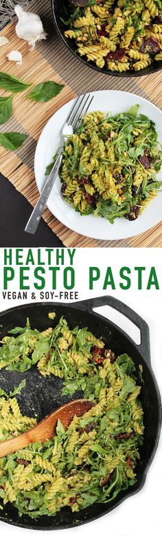 This hearty and delicious vegan pesto pasta is secretively healthy. Serve with g… This hearty and delicious vegan pesto pasta is secretively healthy. Serve with gluten-free pasta for a vegan, soy and gluten-free meal the whole family will love. Vegan Dinner Recipes, Delicious Vegan Recipes, Vegan Dinners, Pasta Recipes, Whole Food Recipes, Vegetarian Recipes, Healthy Recipes, Free Recipes, Gf Recipes