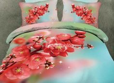 New Arrival Lovely Blooming Red Winter-sweet Print 4 Piece Bedding Sets  @bedding inn