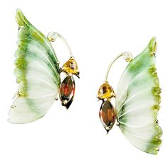 Jade Garnet Citrine Diamond Butterfly Brooches | From a unique collection of vintage brooches at http://www.1stdibs.com/jewelry/brooches/brooches/