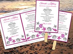 Seashells Beach Wedding Fan Microsoft Word Template - Fuchsia Silver Gray Bordered Ceremony Program - Outdoor Wedding Program Favor by PaintTheDayDesigns, $10.00