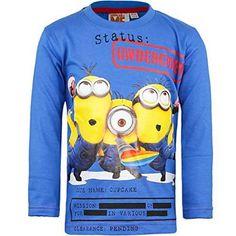 Minions - Ich einfach Unverbesserlich Jungen Langarmshirt, Größe 92 bis 122 (92 - 2 Jahre, blau) #longsleeveshirt #covetme #minions