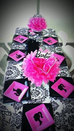 Lovely table at a Barbie party!  See more party ideas at CatchMyParty.com!  #partyideas #barbie