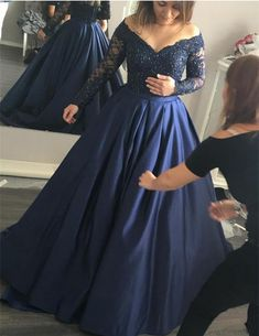Navy Prom Dresses,Ball Gown Prom Dress,Long Sleeve Prom Dress,Beaded Prom Dresses,Lace Prom Gowns,V-Neck Prom Dresses,Elegant Prom Gowns,Fashion Prom Party Gowns