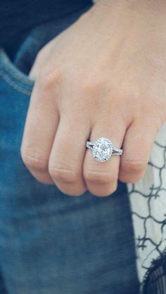 Oval Halo Split Diamond Band Engagement Ring by Ascot Diamonds #ascotdiamonds