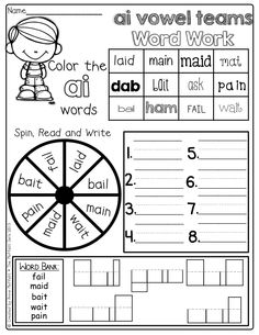 Vowel Team Word Work!  Digraphs, Blends and more! So many different activities on one page!