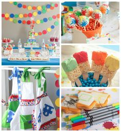 Splatter and Splash Summertime Art Party via Kara's Party Ideas KarasPartyIdeas.com Favors, printables, games, desserts, and more! #artparty...