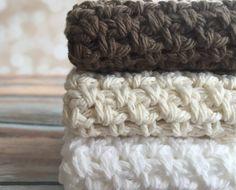 Cotton Crochet Dishcloth/Wascloth by curlsofsunshine on Etsy