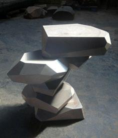 Stefan Bishop.Grey Facet Side Table.Salvaged Elm