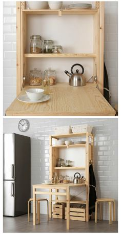 Small Space Saving Kitchen Tables Ikea Launches Space Saving Shelving Unit with Foldable Table Space Saving Shelves, Space Saving Table, Space Saving Kitchen, Small Space Kitchen, Space Saving Furniture, Furniture For Small Spaces, Ikea Small Spaces, Tiny Spaces, Tiny House Furniture