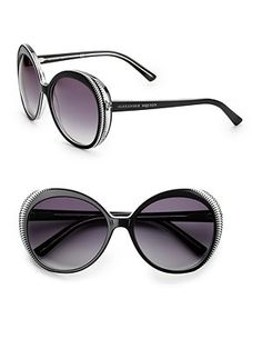 987a896d05fd1 Alexander McQueen - Large Round Plastic Sunglasses A hip style with two  tone crinkle detailing at the edges. Available in black white with gray  gradient ...
