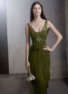 Bridesmaid Dress at David's Bridal   Moss   comes without the clover (thank goodness!)