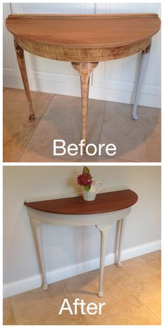Mahogany half moon table painted in Autentico Almond chalk paint. Table top dark waxed and clear wax on legs. Milk Paint Furniture, Diy Furniture Projects, Hand Painted Furniture, Recycled Furniture, Table Furniture, Furniture Makeover, Half Moon Console Table, Half Moon Table, Half Table