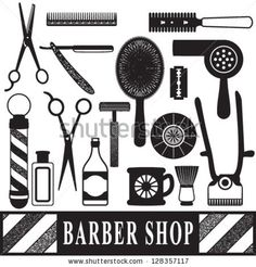 Vintage barber and hairdresser related silhouette set by Aleksandra Novakovic, via ShutterStock Silhouette Cameo Files, Barbershop Design, Silhouette Portrait, Scan And Cut, Paint Shop, Vinyl Crafts, Vinyl Lettering, Silhouette Projects, Card Tags