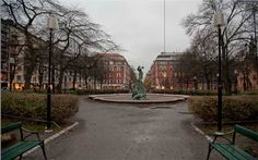 #Mariatorget in western #Södermalm, notable because the square is dominated by Anders Wissler's 1903 bronze statue of the God Thor. Stieg Larsson was known to spend hours in this park reading and resting and was named as a meeting place in the Millennium trilogy. #VisitSweden