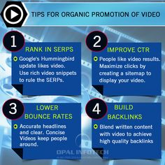 Video has become an integral part of Internet users' online experience. Video is an excellent tool for marketers to find consumers. Here are the several tips following which you can organically promote your video on various platforms like YouTube, Vimeo, Daily Motion and more. To know more, mail us on biz@webmasterindia.com  #OpalInfotech #Video #YouTube #Vimeo #DailyMotion #VideoPromotion #YouTubePromotion