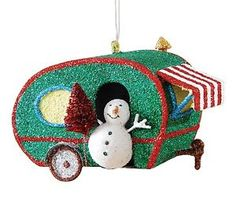 glitter retro look teardrop rv camper wsnowman metal christmas holiday ornament