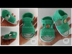 Sapatinho de Croche - Sandalia - Profª Fernanda Reis - YouTube Crochet Baby Sandals, Booties Crochet, Crochet Baby Clothes, Crochet Shoes, Crochet Slippers, Baby Booties, Felt Baby Shoes, Baby Girl Shoes, Baby Shoes Pattern