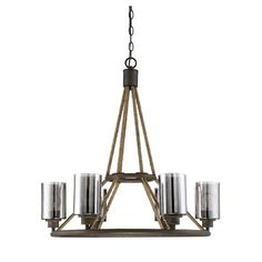 The Savoy House Maverick collection, designed by Brian Thomas , combines artfully-crafted hammered mercury glass, an artisan rust finish and rope tying it all together to bring an upscale, urban look to your home.