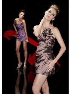 Taffeta Sheath Strapless Neckline Ruched Cocktail Dress