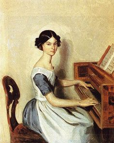 P.Fedotov. Portrait of Nadezhda Zhdanovich   at the Forte-piano. 1849