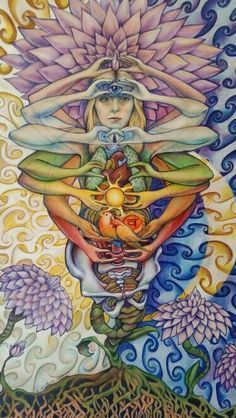 Chakra Flower Girl increasing vibrational frequencies via opening chakras. This piece was created using ink, colored pencil, and watercolor by Christine Huber You can find products with this design at
