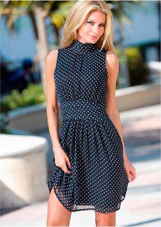 Vestido de chiffon azul/branco - Moda Feminina - bonprix.de