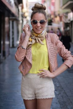 Leather and lace\ blush & yellow