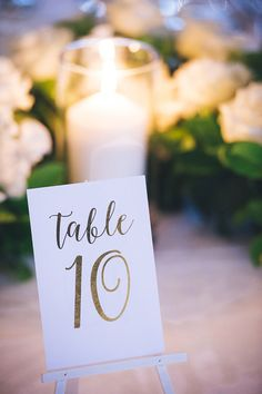 Gold foil table numbers for modern green and white wedding | Luna Imagery