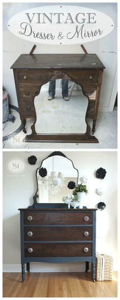 Before and After Painted Furniture makeover Refurbished Furniture, Paint Furniture, Repurposed Furniture, Shabby Chic Furniture, Furniture Projects, Furniture Makeover, Vintage Furniture, Home Furniture, Bedroom Furniture