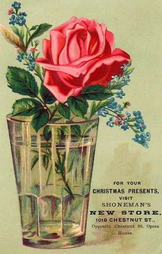 Rose & forget-me-nots in cup/vase ~ store ad