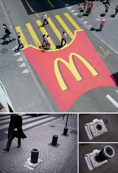 Not to be confused with street art, these ultra creative ads make full use of the roads and whatever surrounds them (poles, dividers, etc.