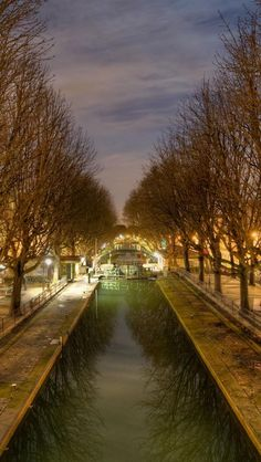 Canal Saint-Martin by Night in Paris, France