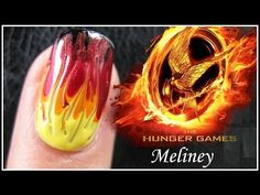 THE HUNGER GAMES CATCHING FIRE NAIL ART TUTORIAL | EASY GRADIENT FADE DRAG MARBLING DESIGN BEGINNERS manicure meliney video