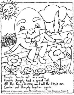 humpty dumpty kids rhymes to colour free colouring pages