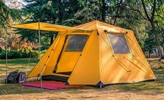 KAZOO Family Camping Tent 4 Person Saturn (Aluminum Poles)   Mountains For Everybody Family Camping, Tent Camping, Best 4 Person Tent, 3 Season Tent, Telescopic Pole, Cabin Tent, Camping Places, Large Windows