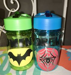 BATMAN & SPIDER-MAN 13oz straw water bottles personalized to your request.   https://www.etsy.com/shop/AriellesTreasures03