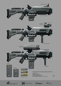 Non-lethal, antiriot shotgun for heavy guards. Personal project with concepts of characters, equipments, vehicles, buildings and more. GREYSTONE is a multinational security agency i. Sci Fi Weapons, Weapon Concept Art, Fantasy Weapons, Weapons Guns, Guns And Ammo, Laser Tag, Future Weapons, Gun Art, Cool Guns