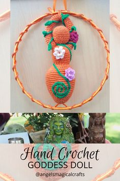 The goddess a symbol of feminine power for your home or altar. Handmade with double knitting acrylic yarn and decorated with silk yarn crocheted flowers. Triple goddess refers to the maiden, the mother and the crone. Each of which symbolises a separate stage in the female life cycle. #handcrochet #goddess #goddessdoll @angelsmagicalcrafts