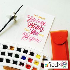 By calligrafikas: Oh yes! It's about getting better #calligrafikas #grafikas #dreweuropeo #moderncalligraphy #lettering #handlettering #brushlettering #watercolor Paper: Canson 200gsm Paint: Van Gogh w/c Brush: Silver Brush Black Velvet round no 2
