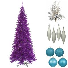 Purple Tree with Cool Tones - NorthPoleDecor.com