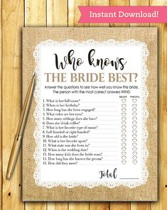 Bridal Shower Game Download  Who Knows the Bride Best